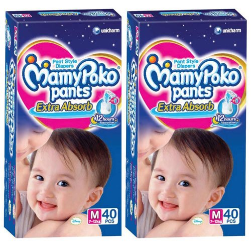 MamyPoko Pants Style Medium Baby Diapers 40 Count- 4 Case Size CRISSCROSS