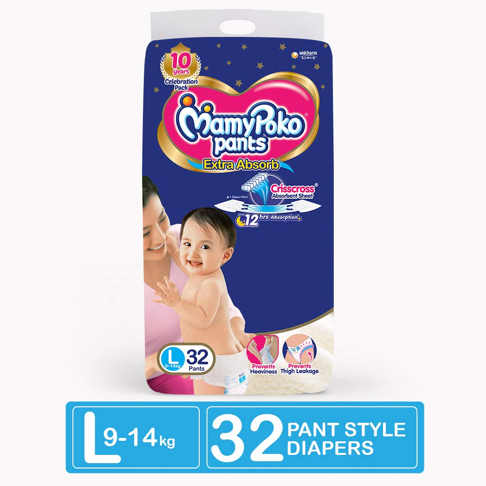 MamyPoko Pants Style Large Size Baby Diapers 32 Count- 4 Case Size CRISSCROSS