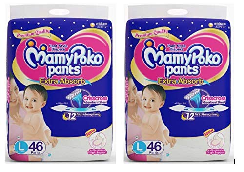 MamyPoko Pants Large Size Diapers 46 Count- 4 Case Size