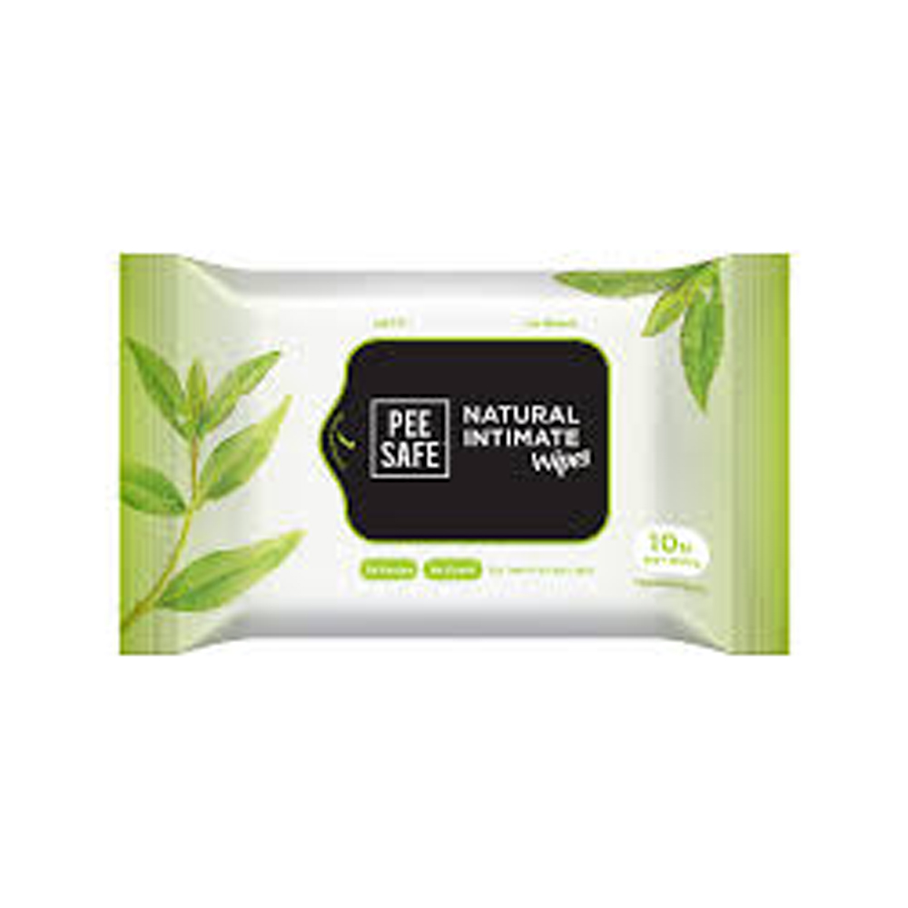 Pee Safe Natural Intimate Wipes (Pack of 10)