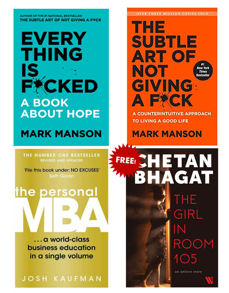 Buy 3 Get 1 Free (The Personal MBA, Everything Is Fucked, The Subtle Art Of Not Giving A Fuck, The Girl In Room 105)