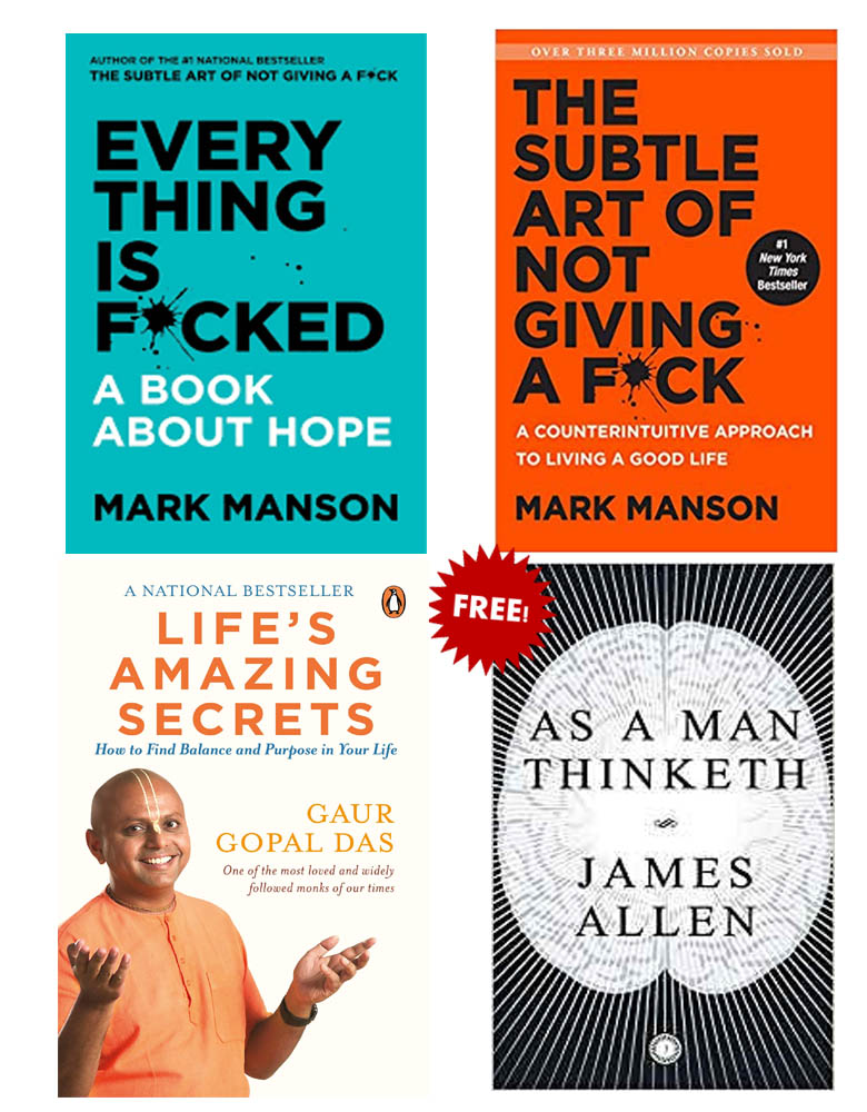 Buy 3 Get 1 Free (Life Amazing Secrets, Everything Is Fucked, The Subtle Art Of Not Giving A Fuck, As A Man Thinketh)