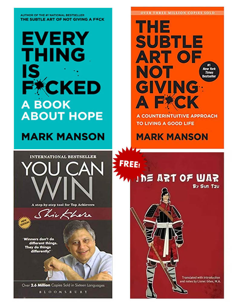 Buy 3 Get 1 Free (You Can Win, Everything Is Fucked, The Subtle Art Of Not Giving A Fuck, The Art Of War)