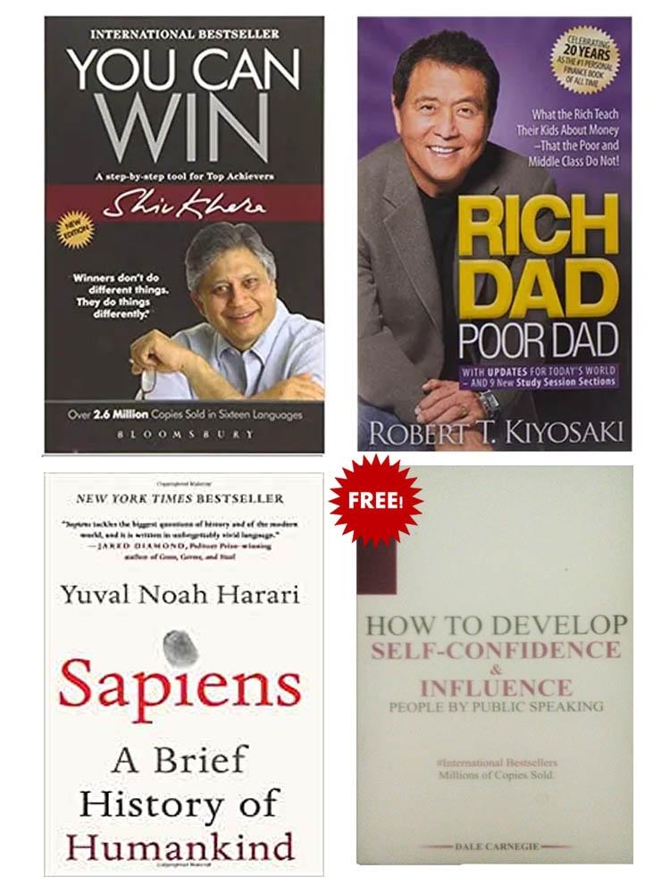 Buy 3 Get 1 FREE, Rich Dad Poor Dad, Sapiens, You Can Win, How To Develop Self Confidence & Influence People by Public Speaking