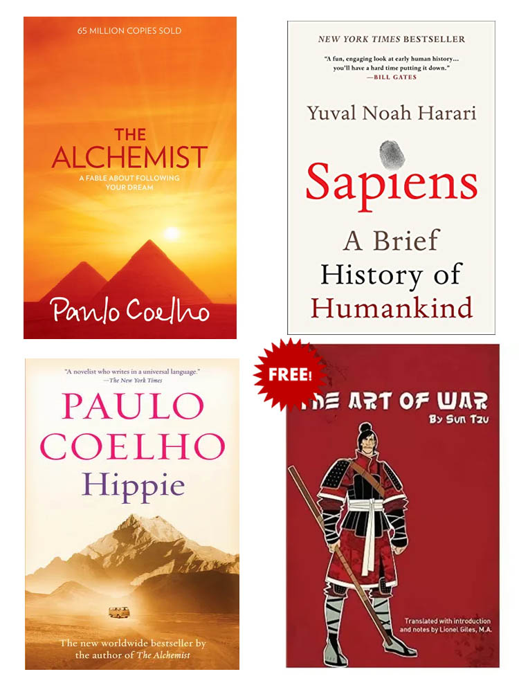 Buy 3 Get 1 FREE, Sapiens, The Alchemist, Hippie, The Art of War