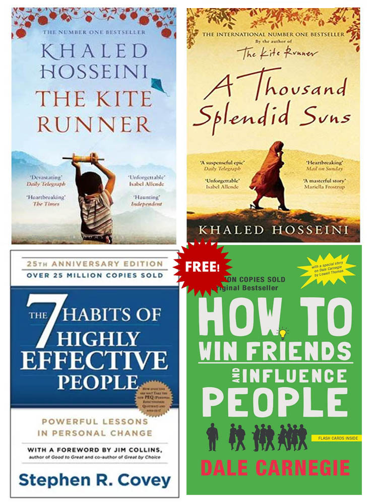 Buy 3 Get 1 FREE, The 7 Habits of Highly Effective People, A Thousand Splendid Suns, The Kite Runner, How To Win Friends and Influence People