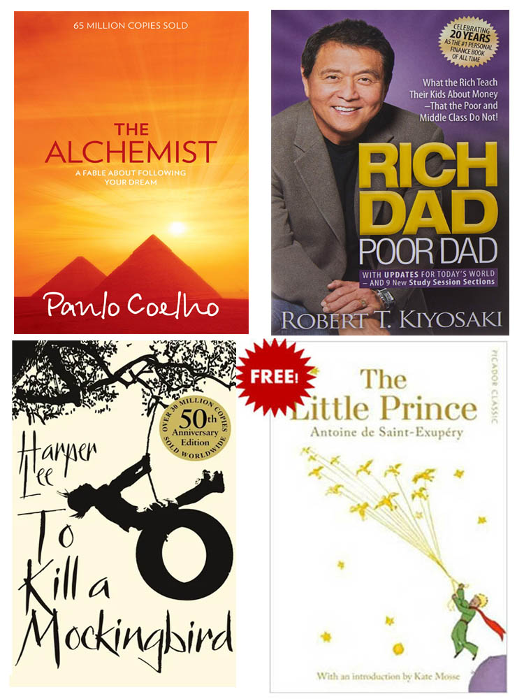 Buy 3 Get 1 FREE, The Alchemist, To Kill A Mocking Bird, Rich Dad Poor Dad, The Little Prince