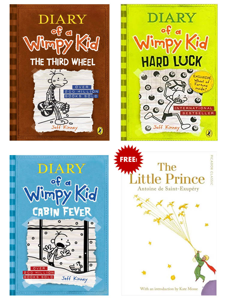Buy 3 Get 1 FREE, Diary of A Wimpy Kid The Third Wheel, Diary of A Wimpy Kid Hard Luck, Diary of A Wimpy Kid Cabin Fever, The Little Price