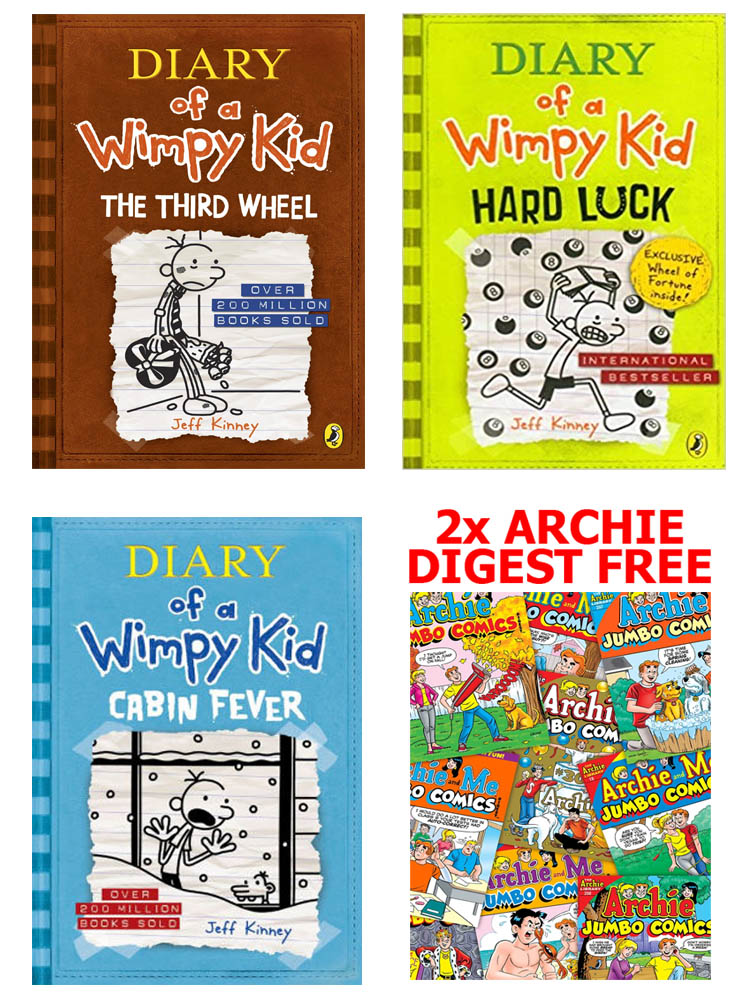 Buy 3 Get 2 FREE, Diary of A Wimpy Kid The Third Wheel, Diary of A Wimpy Kid Hard Luck, Diary of A Wimpy Kid Cabin Fever, Archie Digest 2 BOOKS FREE