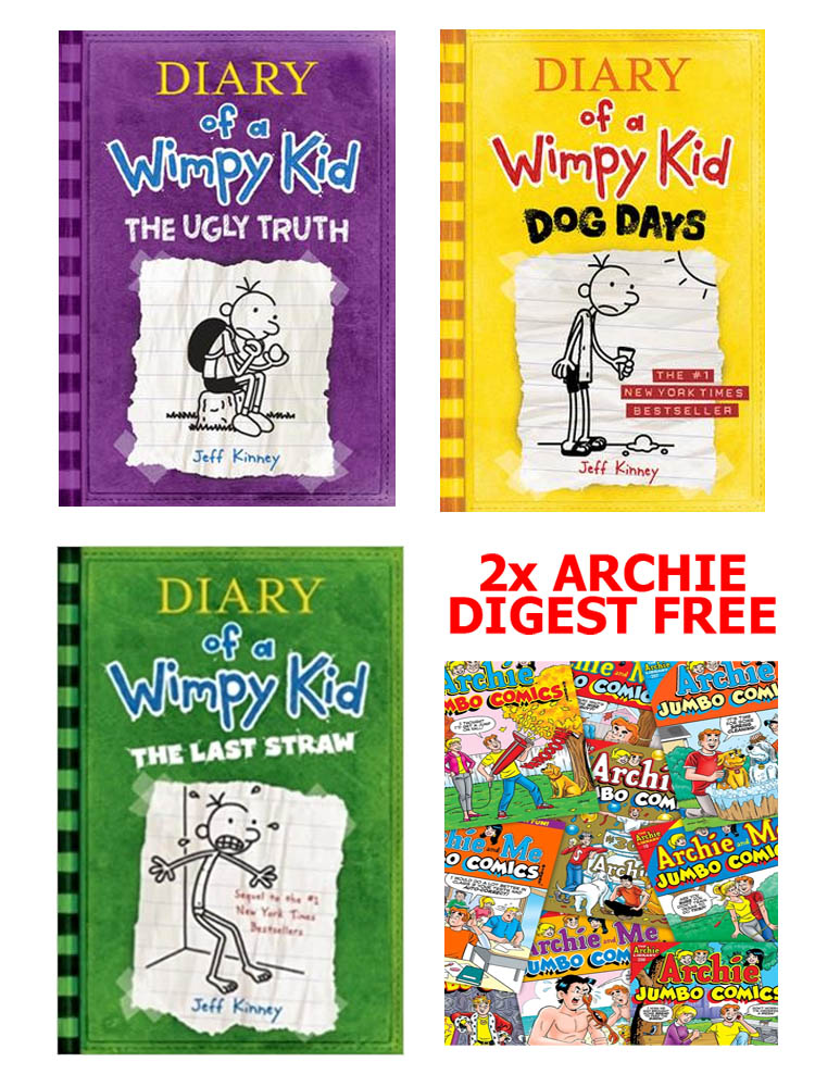 Buy 3 Get 2 FREE, Diary of A Wimpy Kid The Ugly Truth, Diary of A Wimpy Kid The Last Straw, Diary of A Wimpy Kid Dog Days, Archie Digest 2 BOOKS FREE