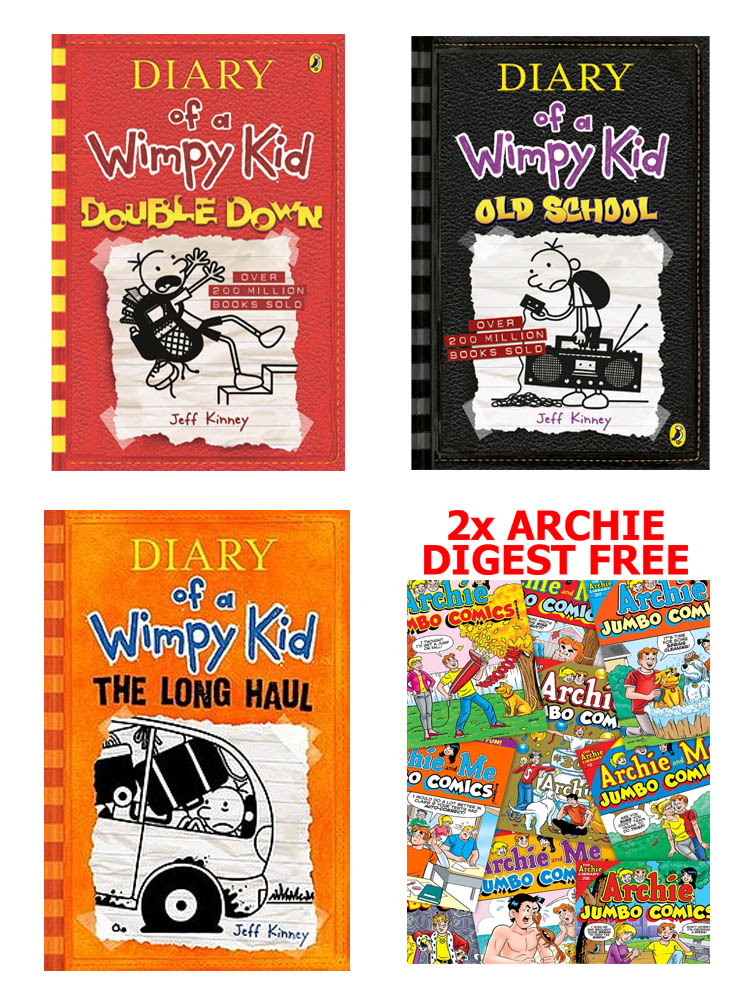 Buy 3 Get 2 FREE, Diary of A Wimpy Kid Double Down, Diary of A Wimpy Kid Old School, Diary of A Wimpy Kid The Long Haul, Archie Digest 2 BOOKS FREE