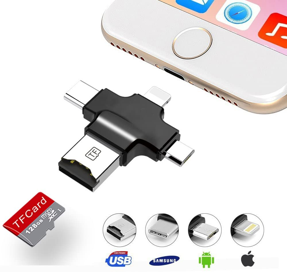4 in 1 Memory Card Reader/OTG/USB Flash Drive Micro SD/TF Card Reader with Lightning, Type C, , USB & Micro USB Interfaces, for Android/PC/IOS iPhone/iPad/Type C/Mac(Andriod Needs OTG Function)-black