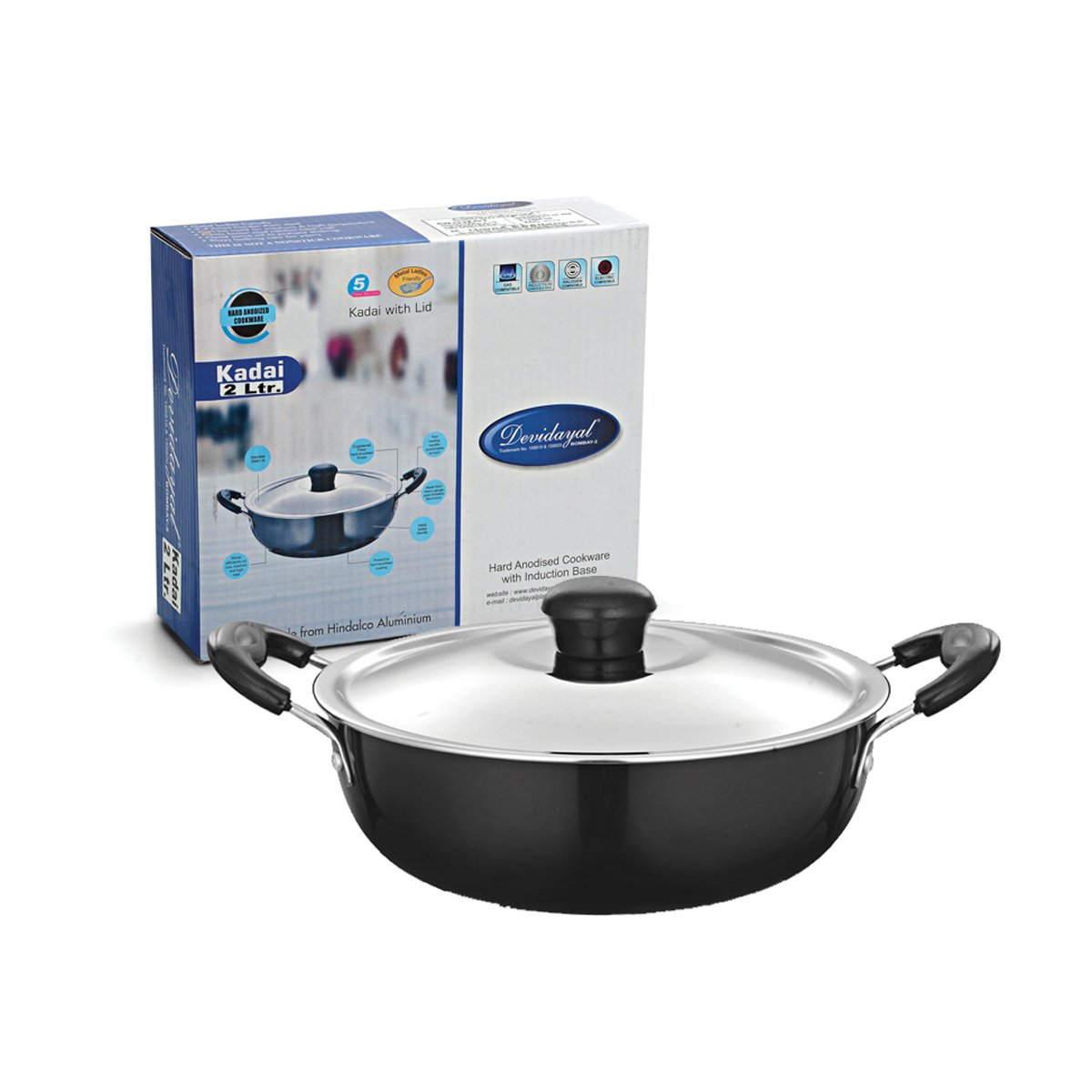 DeviDayal l Induction Base Hard Anodized Deep Kadai With Lid-(2 Liter)