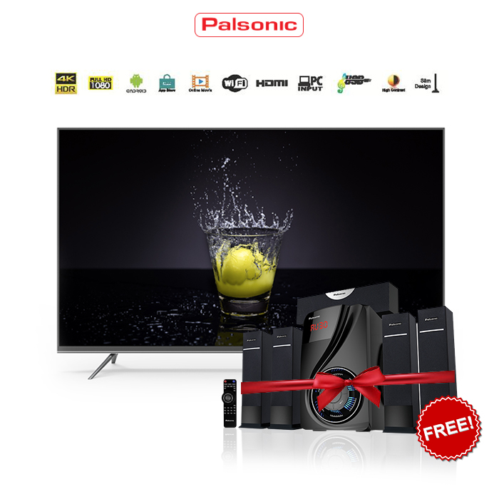 Free 5.1 CH Home Theatre On 55 Inch Palsonic 4k Smart LED TV