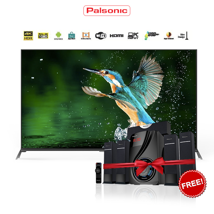 Free 5.1 CH Home Theatre on 65 Inch palsonic 4k Android smart LED TV