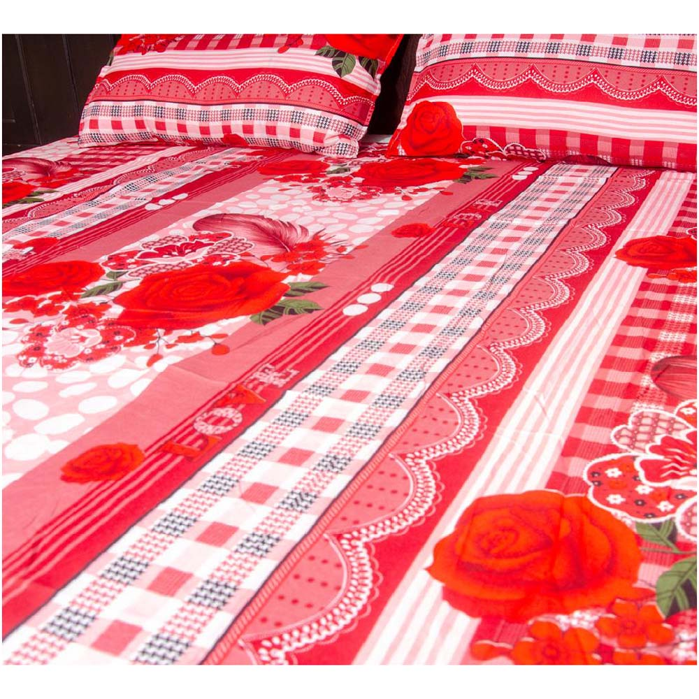 Poly Cotton Bedsheet King Size With 2 Pillow Covers