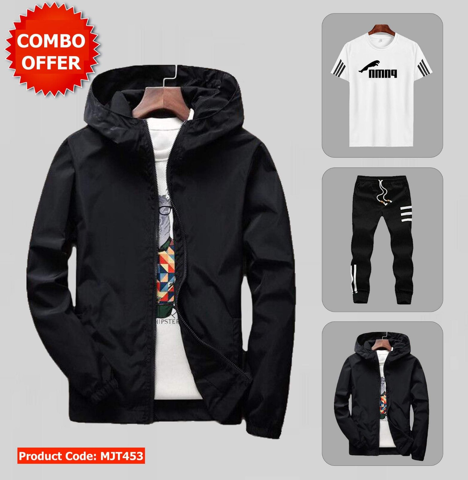 Combo of Wincheater, Tshirt and Joggers-MJT453