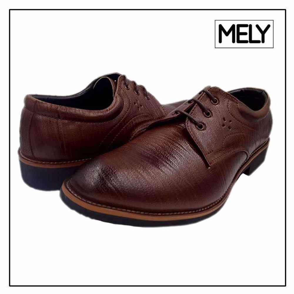 Mely Brown Formal Textured Derby Shoes For Men
