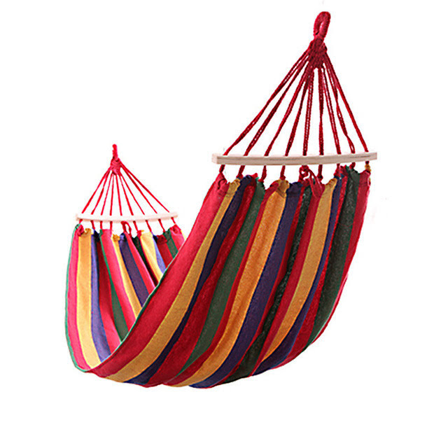 Portable Canvas Hammock with Wood Support(Single)