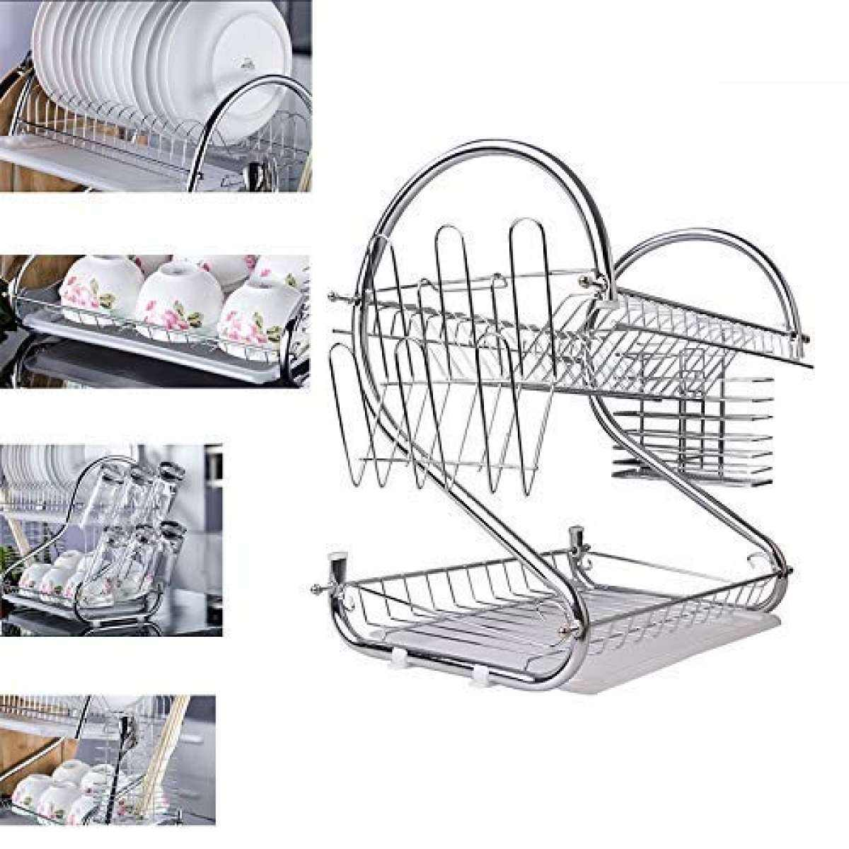 2-Tier Dish Rack and DrainBoard,Kitchen Chrome Cup Dish Drying Rack Tray Cultery Dish Drainer
