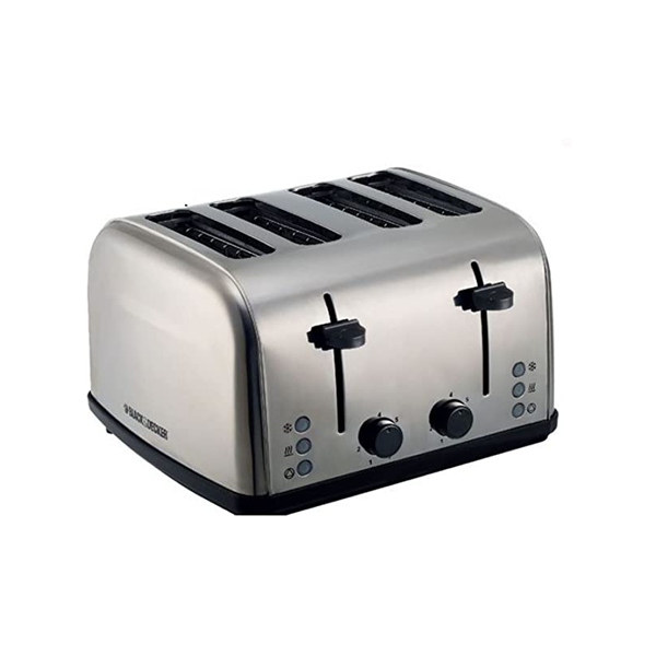 Black + Decker 4 Slice Stainless Steel Toaster With Dual Control-ET304-B5