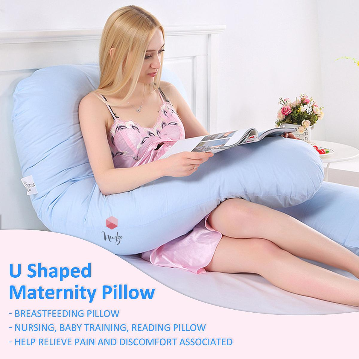 Nudge Premium Pregnancy Pillow - U Shaped Pillow With 100% Cotton Zippered Cover For Pregnant Women(Sky Blue)