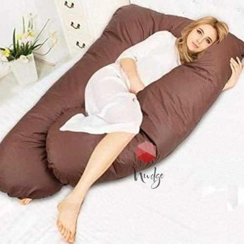 Nudge Premium Pregnancy Pillow - U Shaped Pillow With 100% Cotton Zippered Cover For Pregnant Women(Brown)