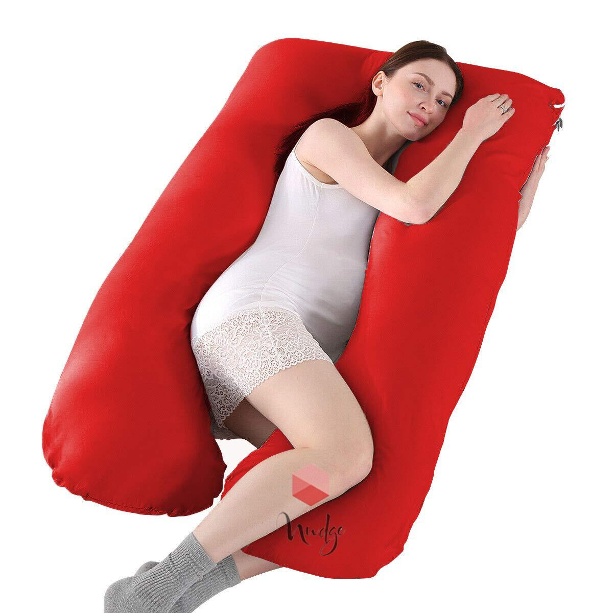 Nudge Premium Pregnancy Pillow - U Shaped Pillow With 100% Cotton Zippered Cover For Pregnant Women(Red)