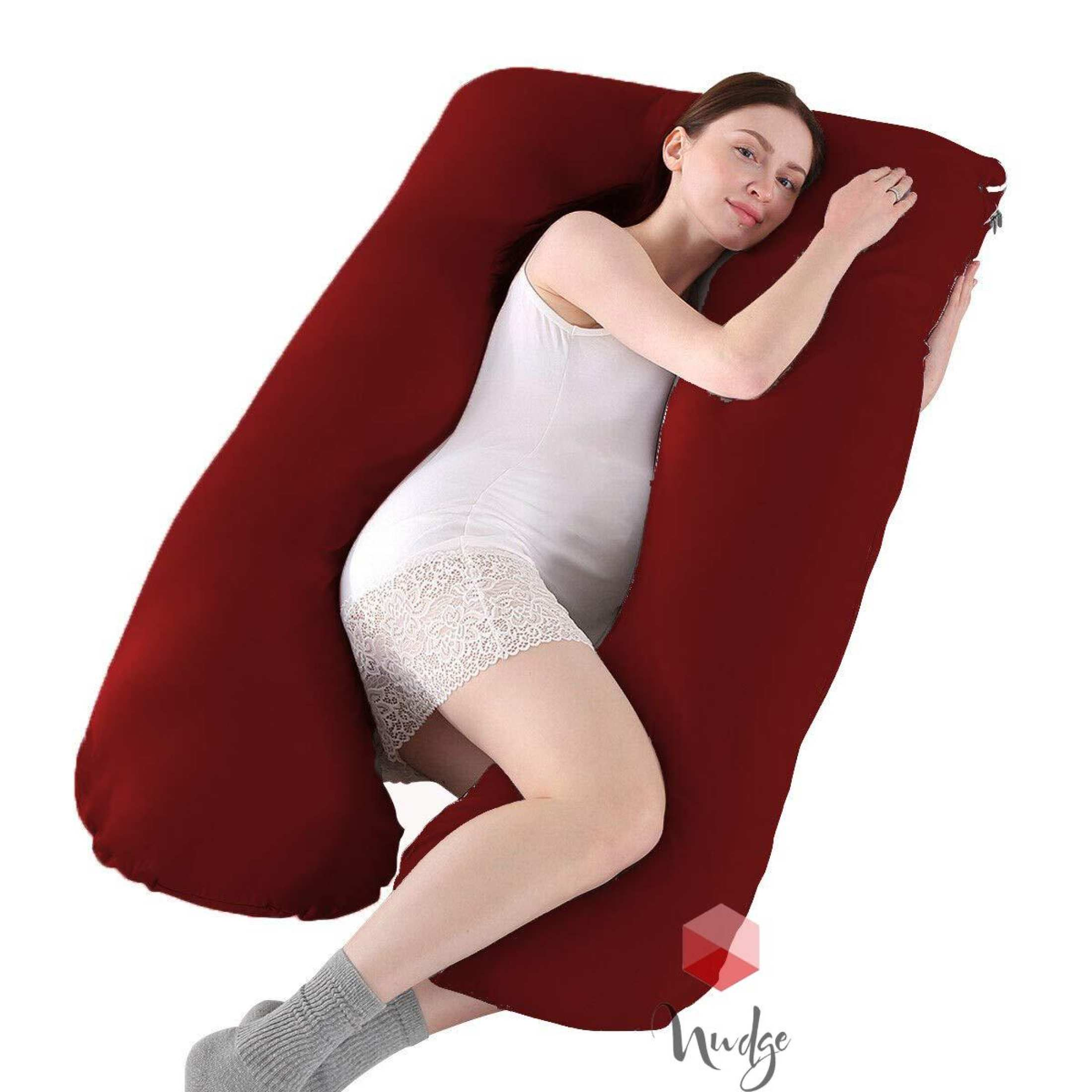 Nudge Premium Pregnancy Pillow - U Shaped Pillow With 100% Cotton Zippered Cover For Pregnant Women(Maroon)