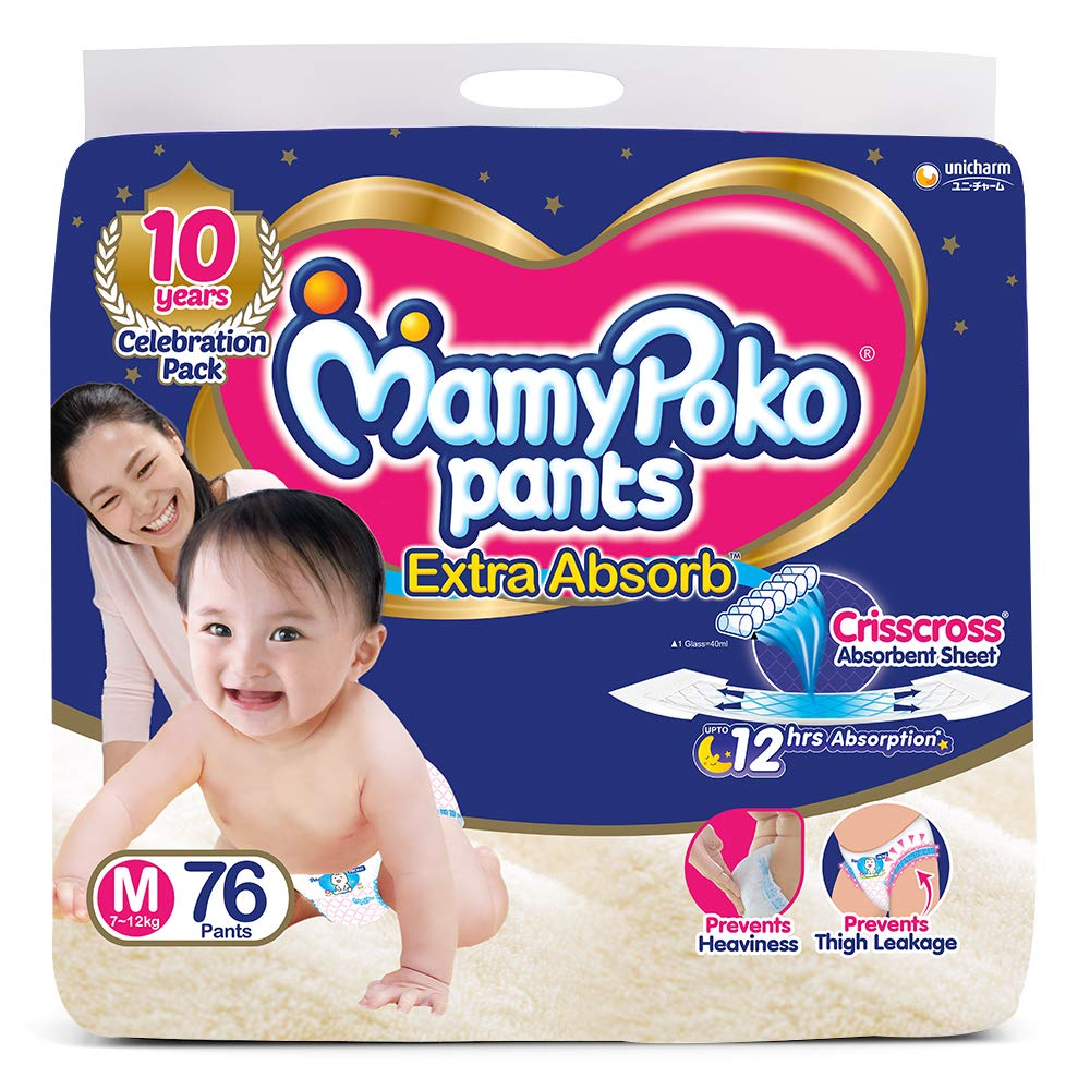 MamyPoko Pants 7-12Kg Medium Baby Diaper (76 pants)