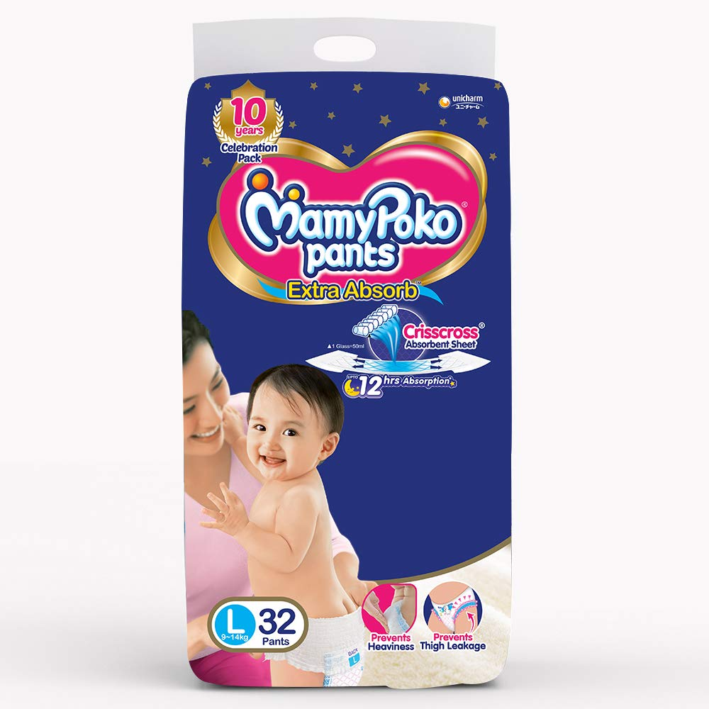 MamyPoko Pants 9-14Kg Large Baby Diaper (32 Pants)