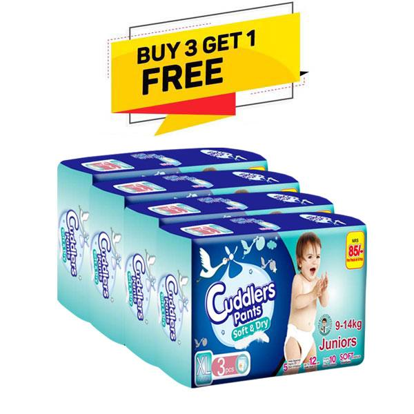 Cuddlers Pants Soft & Dry Crawlers Diaper Extra Large - 3 Pcs(Buy 3 Get 1 Free)