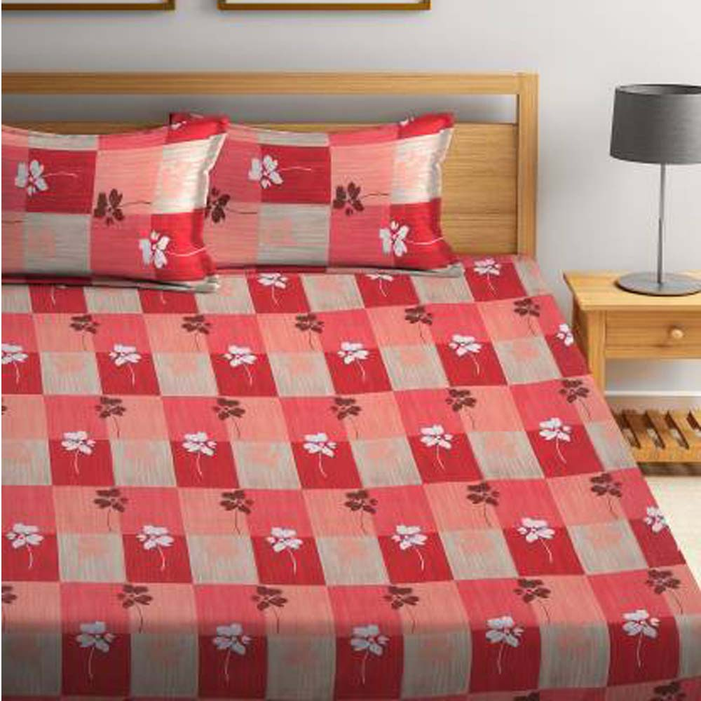 Flipkart SmartBuy 104 TC Cotton Double Printed Bedsheet Pack of 1, Coral