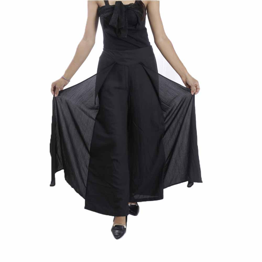 Paislei Black Solid Flared Plazzo For Women - 11041-A
