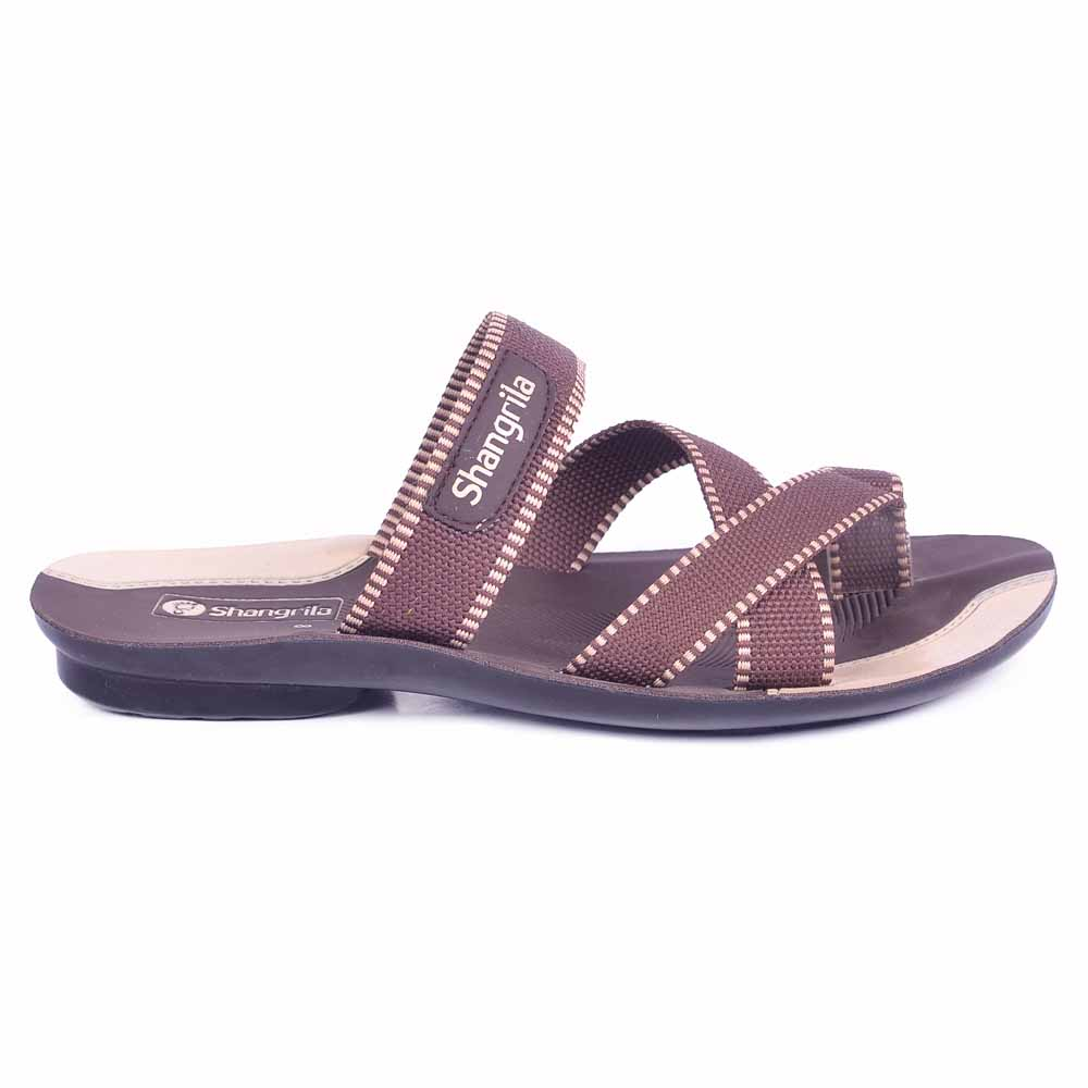 Shangrilla Brown PU Leather Slipper for Men SPG-1110 with Free SEG-203 Slippers