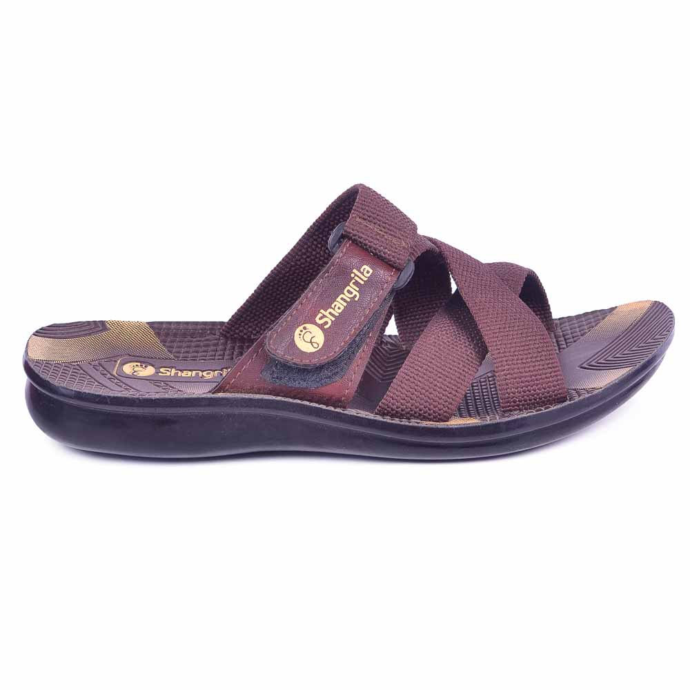 Shangrilla Brown PU Leather Slipper for Men SPG-1501 with Free SEG-203 Slippers
