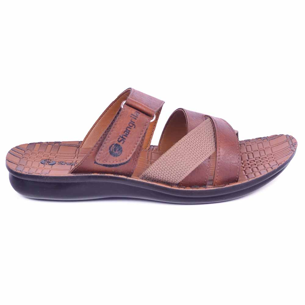Shangrilla Brown PU Leather Slippers for Men SPG-1502 with Free SEG-203 Slippers