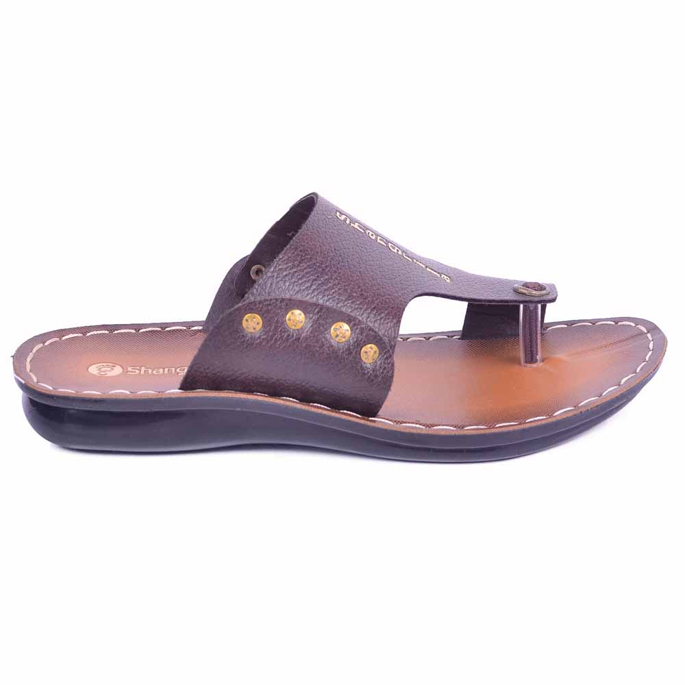 Shangrilla Brown PU Leather Slipper for Men SPG-1507 with Free SEG-203 Slippers