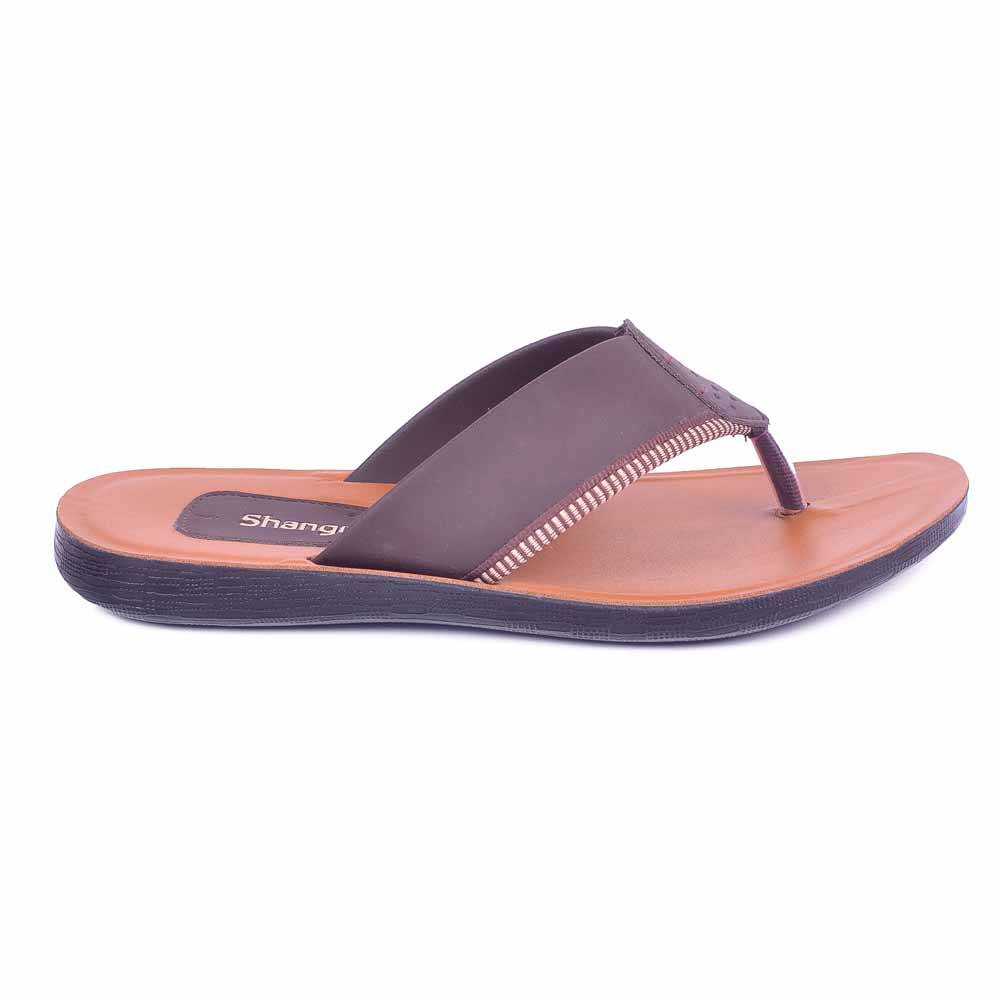 Shangrilla Brown PU Leather Slipper for Men SPG-1901 with Free SEG-203 Slippers