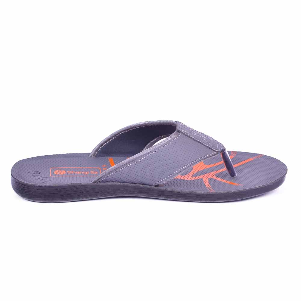 Shangrilla Gry Abstract PU Leather Slippers for Men SPG-1906 with Free SEG-203 Slippers
