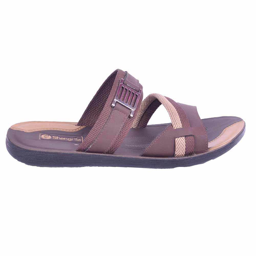 Shangrilla Brown PU Leather Slippers for Men SPG-1911 with Free SEG-203 Slippers