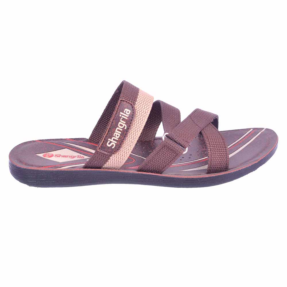 Shangrilla Brown PU Leather Slippers for Men SPG-1913 with Free SEG-203 Slippers