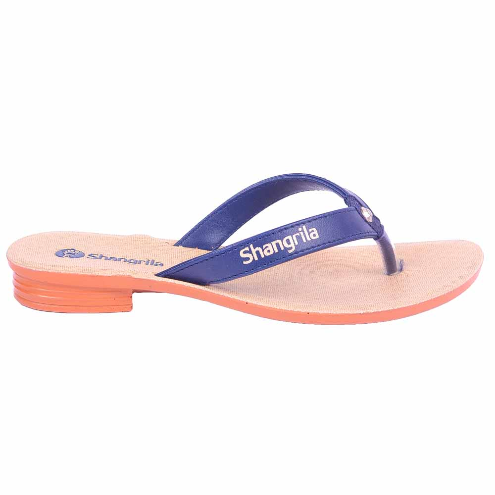 Shangrilla Blue PU Leather Sandal for Women SPL-1011 with Free SEG-203 Slippers