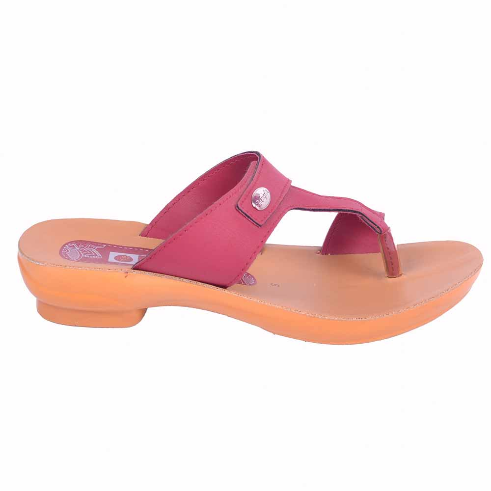 Shangrilla Maroon PU Leather Sandal for Women SPL-3006 with Free SEG-203 Slippers