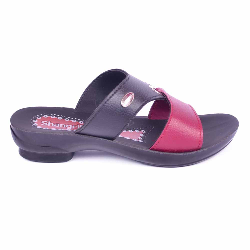 Shangrilla Black Red PU Leather Sandal for Women SPL-3016 with Free SEG-203 Slippers