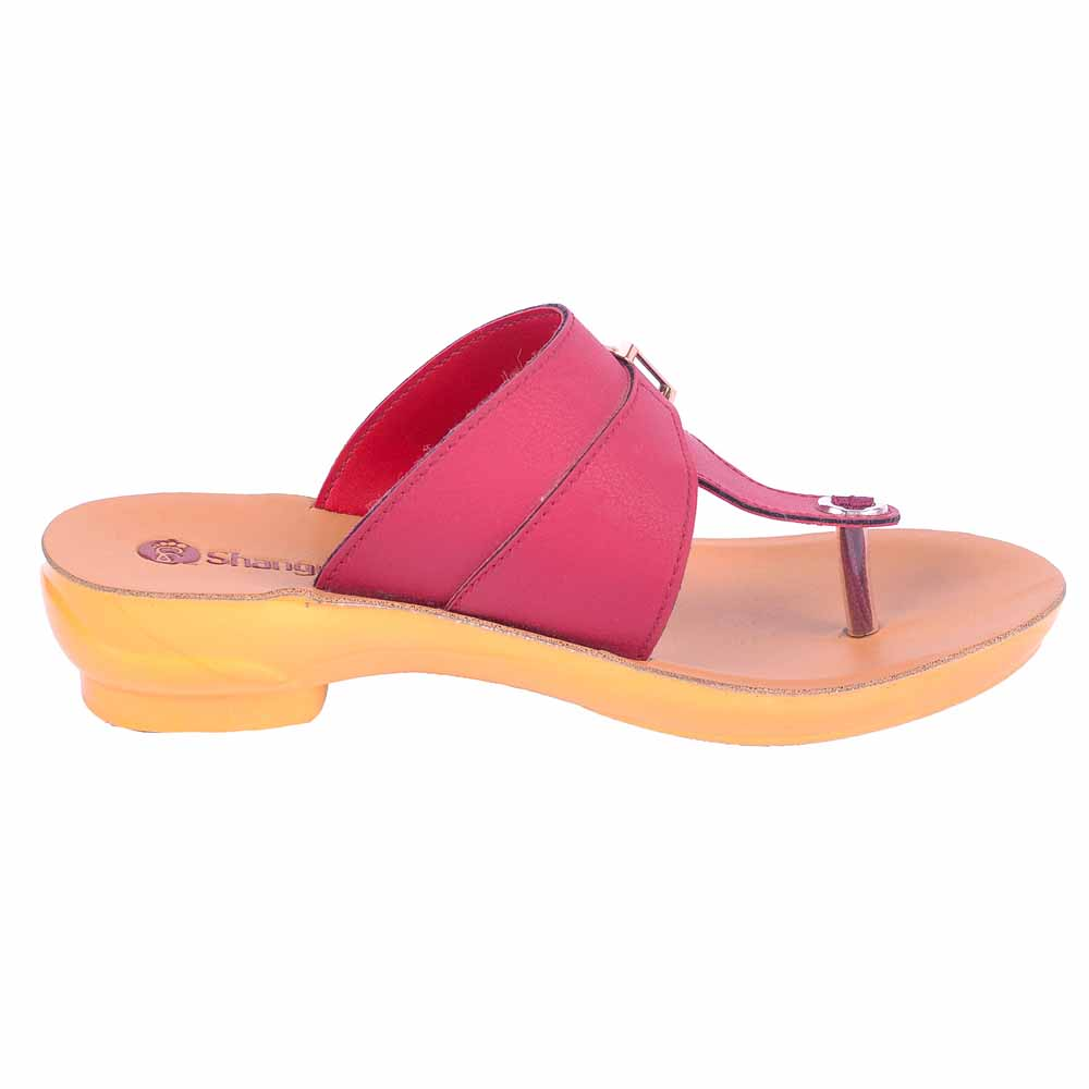 Shangrilla Cherry Brown PU Leather Sandal for Women SPL-3017 with Free SEG-203 Slippers
