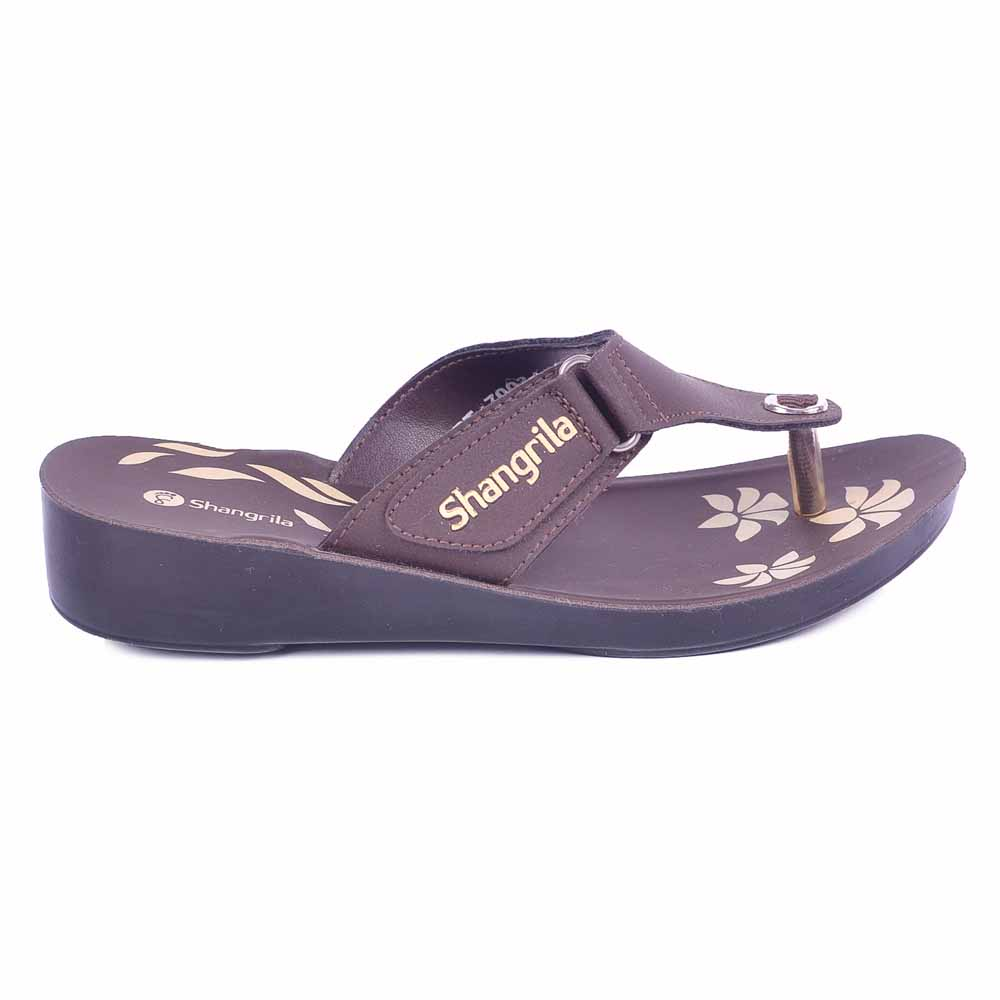 Shangrilla Brown PU Leather Sandal for Women SPL-7003 with Free SEG-203 Slippers