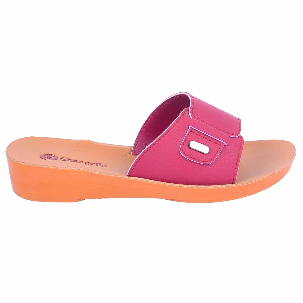 Shangrilla Cherry Brown PU Leather Sandal for Women SPL-7004 with Free SEG-203 Slippers