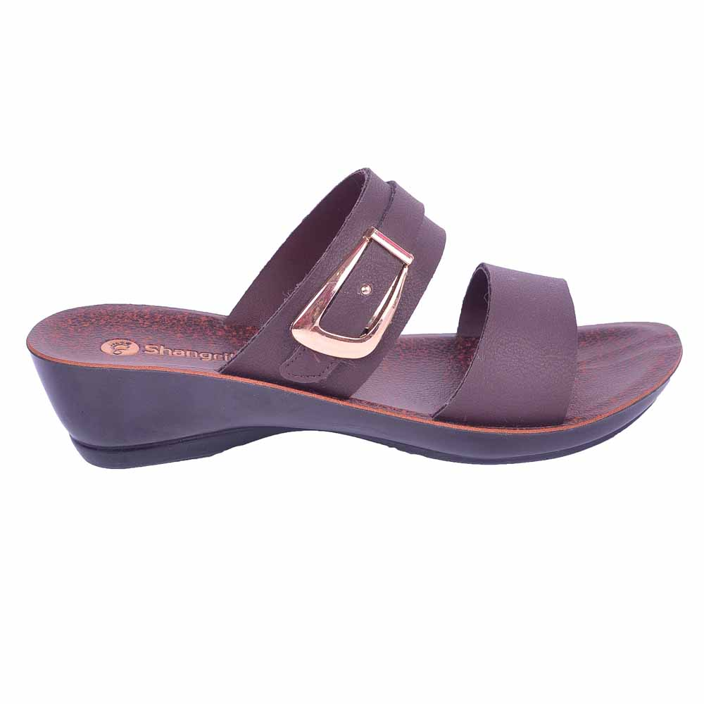 Shangrilla Brown PU Leather Sandal for Women SPL-9006 with Free SEG-203 Slippers