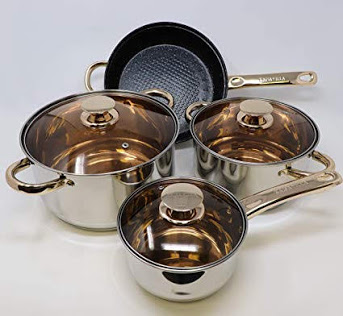 Kaisa Villa Cookware Set (4 Piece Stainless Steel) - Induction Base